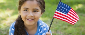 girl with flag